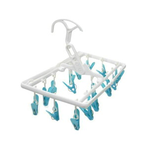 (まとめ) 洗濯ハンガー/ピンチハンガー 【室内干し&外干し両用】 ミニ 16ピンチ ブルー 【×15個セット】