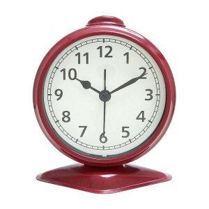 置時計 テーブルアラーム W97×D60×H114mm スチール ウォッチ おしゃれ レッド(代引不可)