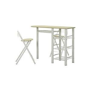 カウンターテーブル&チェアーセット W1200×D400×H875mm スチール MDF(PVC) おしゃれ ホワイト/ホワイト(代引不可)【送料無料】