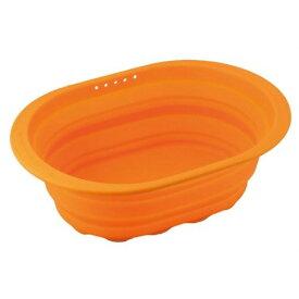 和平フレイズ スキッとシリコーン 小判型洗い桶 オレンジ SR-4883【S1】