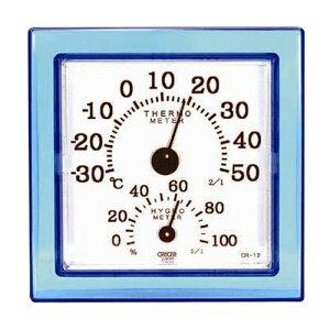 CRECER・温湿度計クリア・ミニブルー・CR-12B 大工道具:測定具:温度計・他