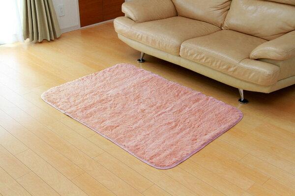 フィラメント素材 ホットカーペット対応ルームマット 『フィリップ』 ピンク 92×130cm(代引き不可)【送料無料】【ポイント10倍】