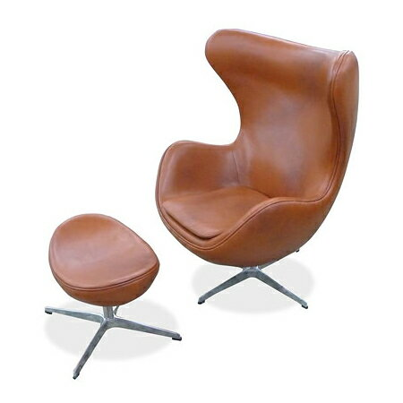 アルネ・ヤコブセン エッグチェア&オットマン(総本革) セット Arne Jacobsen Egg Chair&Ottoman リプロダクト(代引き不可)【1年保証付】【送料無料】【ポイント10倍】