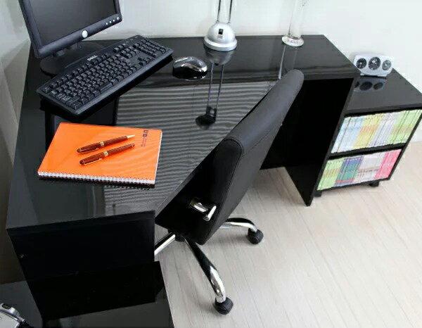 鏡面 コーナーパソコンデスク 3点セット ブラック FM144BK(代引き不可)【送料無料】【ポイント10倍】【inte_D1806】