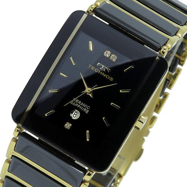 テクノス TECHNOS クオーツ メンズ 腕時計 時計 T9137GB ブラック/ゴールド【ポイント10倍】【楽ギフ_包装】