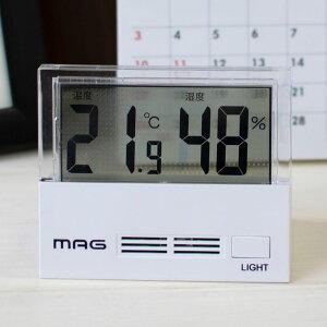 デジタル 温度湿度計 MAG シースルー TH-108 WH-Z 温度 湿度 温湿度計 ライト 液晶 コンパクト 透明感 クリア