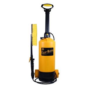 掃除用水圧クリーナー シャワー ホース ブラシ 洗浄 散水 ポンプ式 8L キャスター付 水形調節 連続放水 加圧 掃除 水やり 洗車(代引不可)【送料無料】