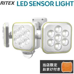 【限定おまけ付き】 RITEX ライテックス LEDセンサーライト ソーラー充電式 5W×3灯 フリーアーム式 LED S-90L ワイド センサーライト 投光器 防犯 色味変更カバー付き 防雨 防水 コンセント式 エ