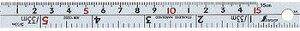 シンワ測定 直尺 シルバー 15cm 併用目盛 W左基点 cm表示 赤数字入 13202