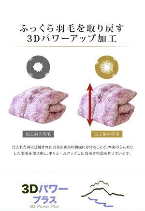 羽毛ふとん増量タイプ立体キルト構造1.7kg日本製CILゴールドラベルダブルホワイトダックダウン93%400dp【ポイント10倍】【送料無料】