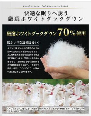 日本製羽毛布団クイーン掛けふとん【CILグリーンラベル】ホワイトダックダウン羽毛のためのアレルGプラス3年保証