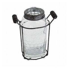 ガラスフラワーベース アイアンハンドル&メッシュ蓋付き Sサイズ ZHGR1021(代引不可)【ポイント10倍】