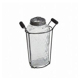 ガラスフラワーベース アイアンハンドル&メッシュ蓋付き Lサイズ ZHGR1023(代引不可)【ポイント10倍】