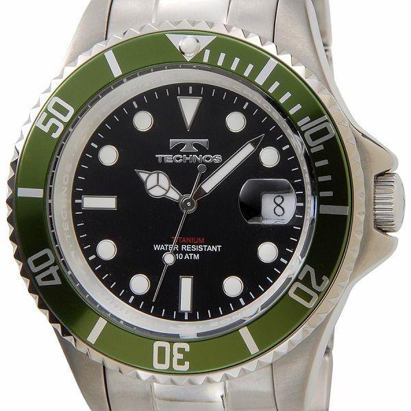 テクノス TECHNOS 腕時計 T4323IM オリジナルモデル フルチタン製 ダイバーモデル 軽量95g ブラック×グリーン メンズ【ポイント10倍】【送料無料】【inte_D1806】