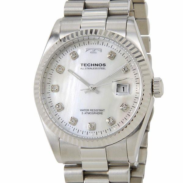 テクノス TECHNOS T9455SS デイト 5気圧防水 クリアストーン10P シルバー メンズ 腕時計【ポイント10倍】【送料無料】【inte_D1806】