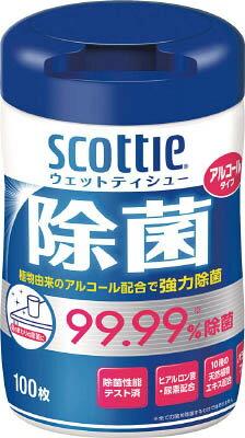 クレシア スコッティ ウェットティシュー除菌 アルコールタイプ 100枚 76985【ポイント10倍】