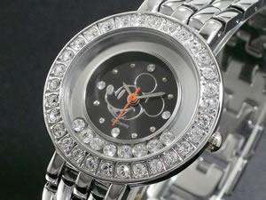 ディズニーミッキー腕時計ハッピークリスタル黒DINEY-12
