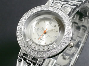 ディズニーミッキー腕時計ハッピークリスタル白DINEY-13