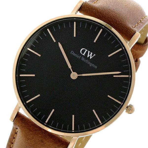 ダニエル ウェリントン クラシック ブラック ダラム/ローズ 36mm ユニセックス 腕時計 DW00100138【送料無料】【楽ギフ_包装】