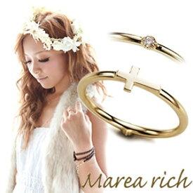 マレアリッチ Marea rich K10 クロスモチーフ・ダイヤ 2WAY ピンキーリング ゴールド×ダイヤモンド 3号 10KJ-18【送料無料】