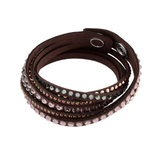 Swarovski SWAROVSKI 5141349 Slake Deluxe Chocolate wrap double-wound type (8 c) Crystal bracelet