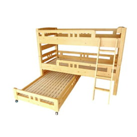 2段ベッド 木製 極太支柱丈夫な多段ベッド(2段ベッド+子ベッド) HR-500ULK 二段ベッド(代引不可)【送料無料】