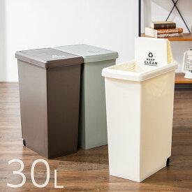 スライドペール 30L ふた付き 幅24cm 30リットル ごみ箱 ダストボックス キッチン スリム コンパクト プラスチック 角型(代引不可)【送料無料】