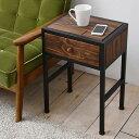 サイドテーブル 天然木 北欧 木製 テーブル ナイトテーブル ベッドテーブル ソファーテーブル アイアン おしゃれ(代引不可)【送料無料】【table0901】