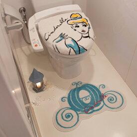 トイレ2点セット シンデレラ トイレフタカバー マット ペーパーホルダー トイレカバー キャラクター Disney ディズニー(代引不可)【送料無料】