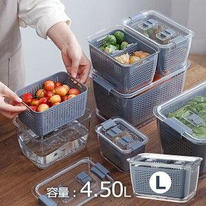 コランダー付き青果 保存容器 L 1個 収納 野菜入れ キッチン 料理 キッチンボックス 水切り 生鮮食品 収納 容器(代引不可)【送料無料】