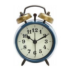 置時計 ベルアラーム W83×D40×H118mm スチール ウォッチ おしゃれ ブルー(代引不可)