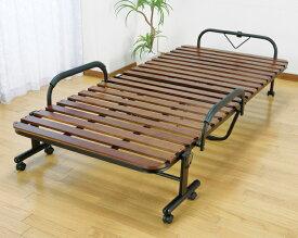 ベッド 折りたたみベッド すのこベッド 桐製 木製 すのこ 折りたたみ キャスター付き セミダブル(代引不可)【送料無料】