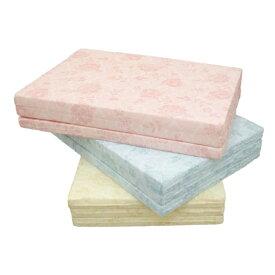 日本製 マットレス セミダブル 3つ折り 三つ折り 逃湿 ウレタン 厚み5 通気 セミダブル 花柄 ピンク ブルー アイボリー(代引不可)【送料無料】