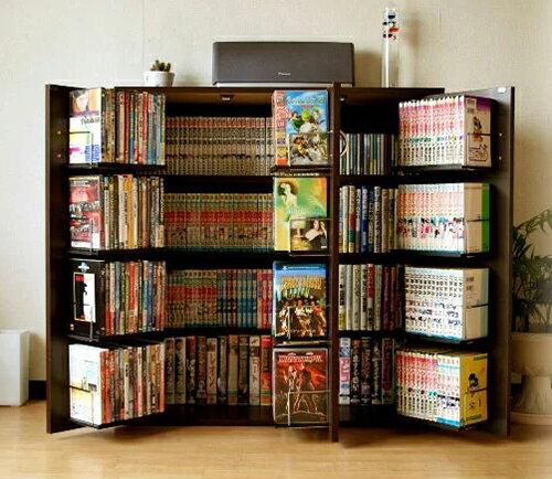 【72時間限定エントリーで最大ポイント10倍 〜2/20 9:59まで】 DVDで最大400収納 書棚ストッカー ダークブラウン (日本製)(FM70DBR)(代引き不可)【送料無料】