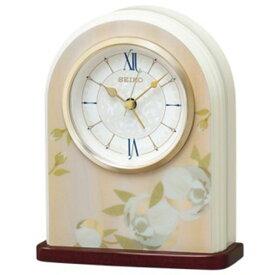 セイコー SEIKO アラーム付 置き時計 QK736P ピンク花柄模様