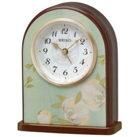 セイコー SEIKO アラーム付 置き時計 QK736L グリーン花柄模様