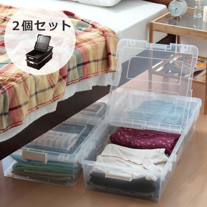 日本製 ベッド下 ベッド下収納箱 リビング収納 収納ボックス 収納ケース フタ付き ベッド下収納 収納箱 収納ボック キャスター付き 2個組(代引不可)【送料無料】