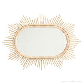 ラタン サンミラー 星型 70×50cm 雑貨 小物 サンミラー 太陽 鏡 壁掛け インテリア 籐 アジアン 手作り 可愛い(代引不可)【送料無料】
