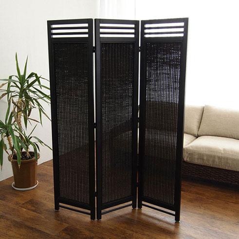 アジアン スクリーン 3連 AT(アンティークブラウン) 籐家具 パーテーション 間仕切り 目隠し 仕切り 衝立 ついたて 寝室 籐(代引不可)【送料無料】