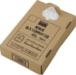 TRUSCO 業務用ポリ袋 透明・箱入り 0.05X45L 100枚入【X0045N】(清掃用品・ゴミ袋)