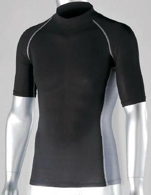 おたふく 冷感 消臭 パワーストレッチ半袖ハイネックシャツ ブラック L【JW-624-BK-L】(冷暖対策用品・暑さ対策用品)