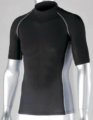 おたふく 冷感 消臭 パワーストレッチ半袖ハイネックシャツ ブラック LL【JW-624-BK-LL】(冷暖対策用品・暑さ対策用品)