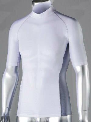 おたふく 冷感 消臭 パワーストレッチ半袖ハイネックシャツ ホワイト LL【JW-624-WH-LL】(冷暖対策用品・暑さ対策用品)