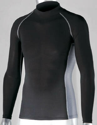 おたふく 冷感 消臭 パワーストレッチ長袖ハイネックシャツ ブラック M【JW-625-BK-M】(冷暖対策用品・暑さ対策用品)