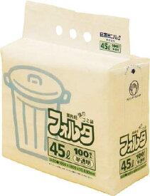 サニパック F−4H環優包装フォルタ45L白半透明【F-4H-HCL】(清掃用品・ゴミ袋)