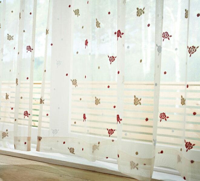 【日本製】 可愛いバラ柄のレースカーテン 幅200×丈223cm [1枚](代引不可)【送料無料】