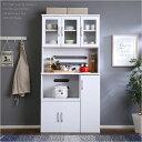 ホワイト食器棚【パスタキッチンボード】(幅90cm×高さ180cmタイプ)(代引き不可)【送料無料】