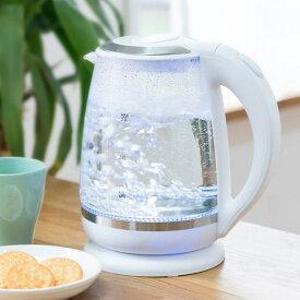 ガラスケトル 2.0L 電子ケトル KDKE-20AW 湯沸かし器 電気ポッド やかん コードレス ガラス製 ワンタッチ 大容量【送料無料】