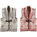 ジャガード織衿付きアクリルベスト2枚セット 衣料 衣料ギフト 冬ホ-ムウエア2枚 CHB-40W(代引不可)