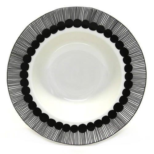 マリメッコ SIIRTOLAPUUTARHA DEEP PLATE 20cm 066683 190 white/black 手描き風ドットデザイン ディーププレート スープ皿